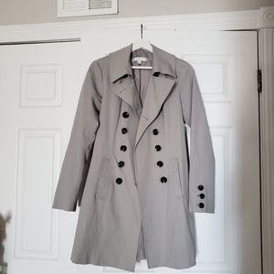Gray double breasted trench coat